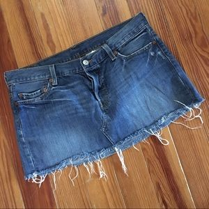 Levi's Cutoff Denim Jean Skirt Low-Rise